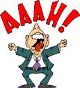 Frustration - man screaming - cartoon